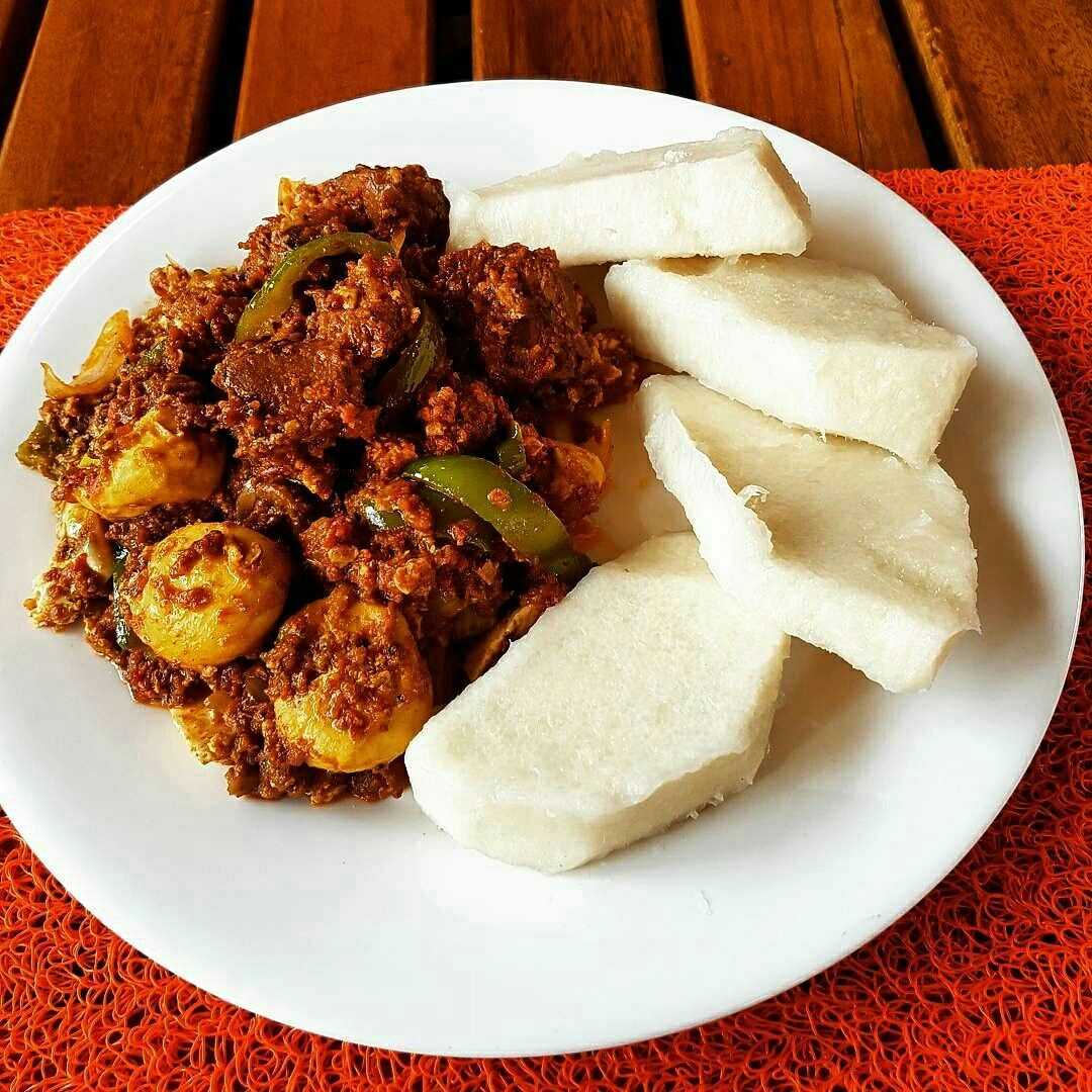 Image result for Boiled yam with stew