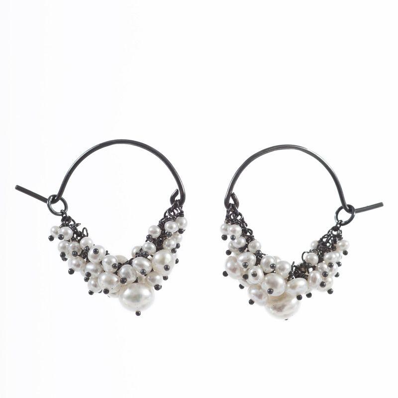Kate Wood Jewellery Pearl and Oxidised Silver Cluster Hoop Earrings J2DlmpjgAB
