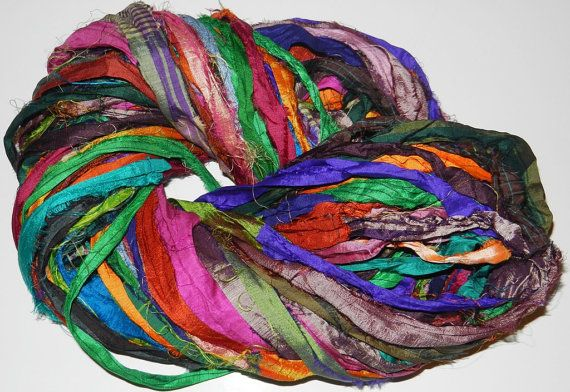 Recycled Sari Silk Ribbon Yarn multi 3 color 65 by JuliaLCraft, $9.99