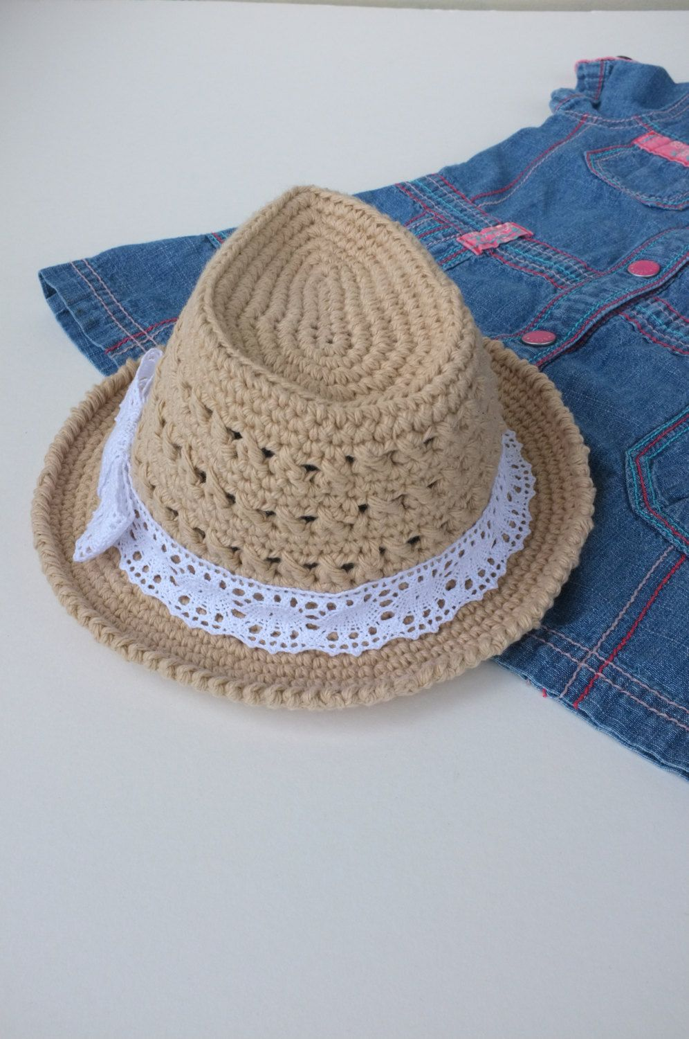 Baby Girl Fedora Hat Crochet Toddler Fedora Cotton by milazshop More 8f1cd65fded4