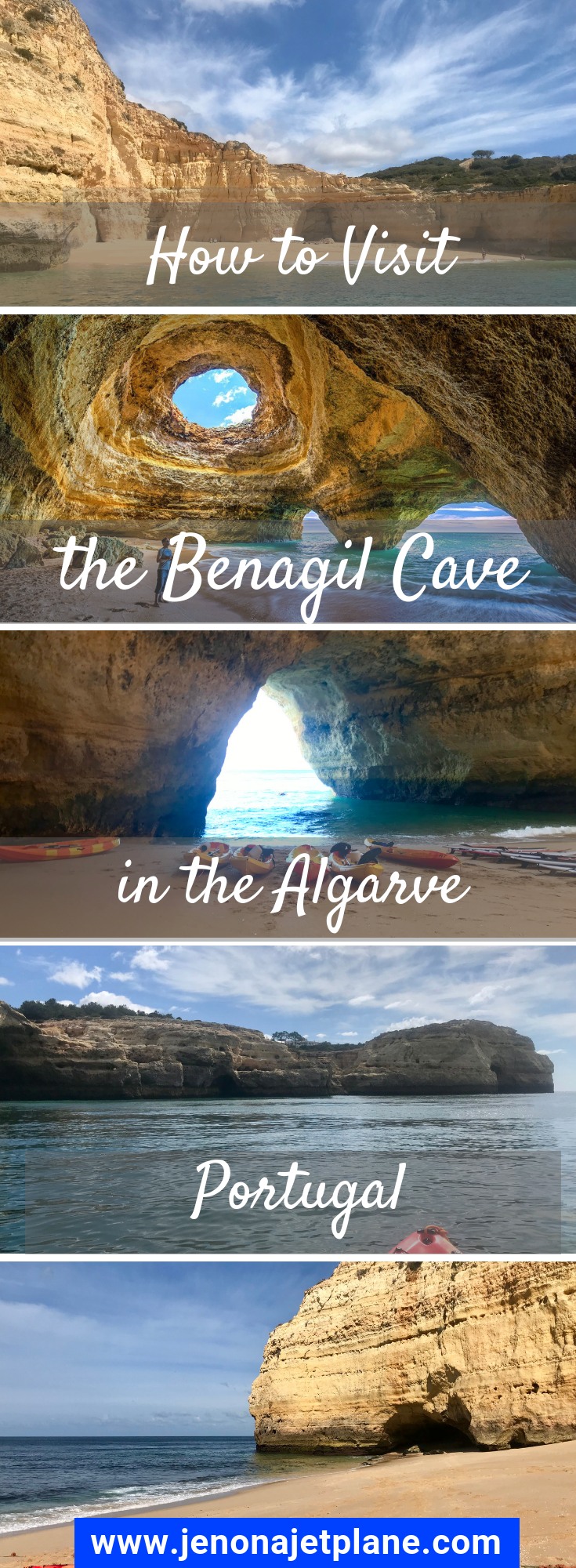 There's only 4 ways to visit the Benagil Sea Cave in the Algarve, Portugal. Find out which method of access is best for you in this post. Save to your travel board for future reference! #portugaltravel #benagil #benagilcavekayak #portugal