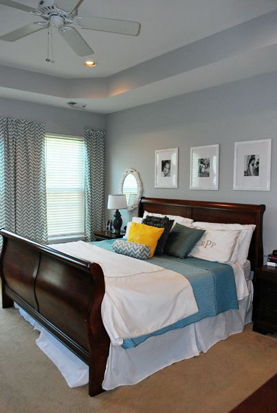 Stonington Grey Benjamin Moore Cherry Wood Bedroom On