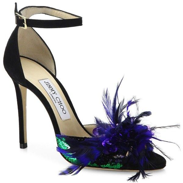2fb0a95d3cb3 Jimmy Choo Annie Sequin Feather-Embellished Suede Ankle-Strap... found on  Polyvore featuring shoes