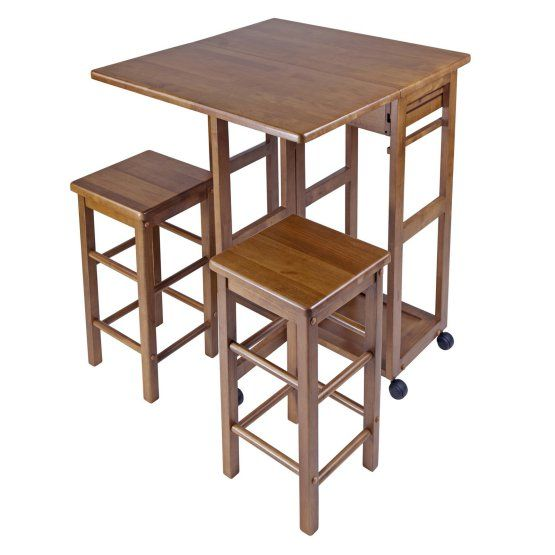 Rolling Kitchen Island Wood Drop Storage 2 Stools Drawers Cart Leaf Flip Up  Top