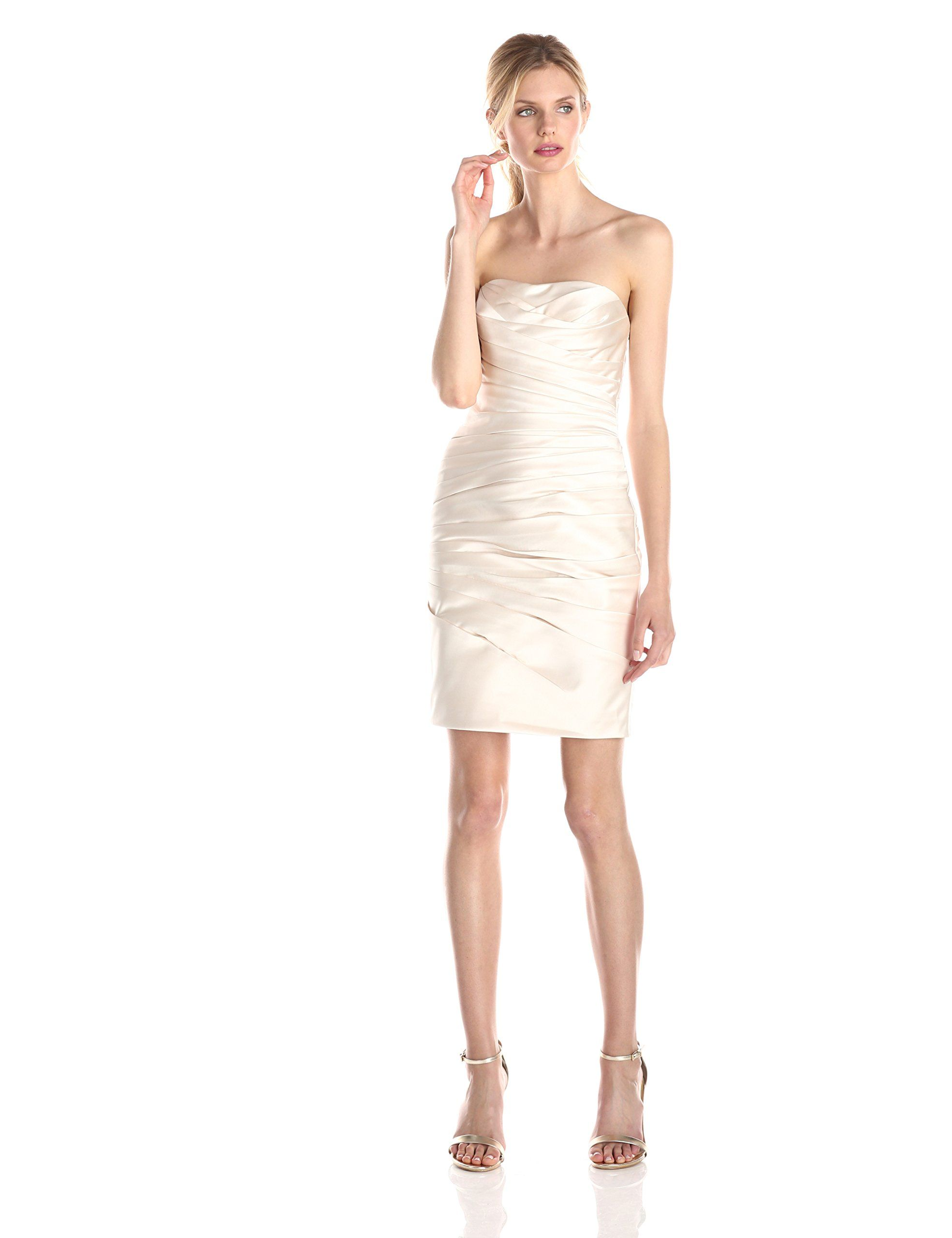 Adrianna Papell Women's Strapless Satin Cocktail Dress, Champagne ...