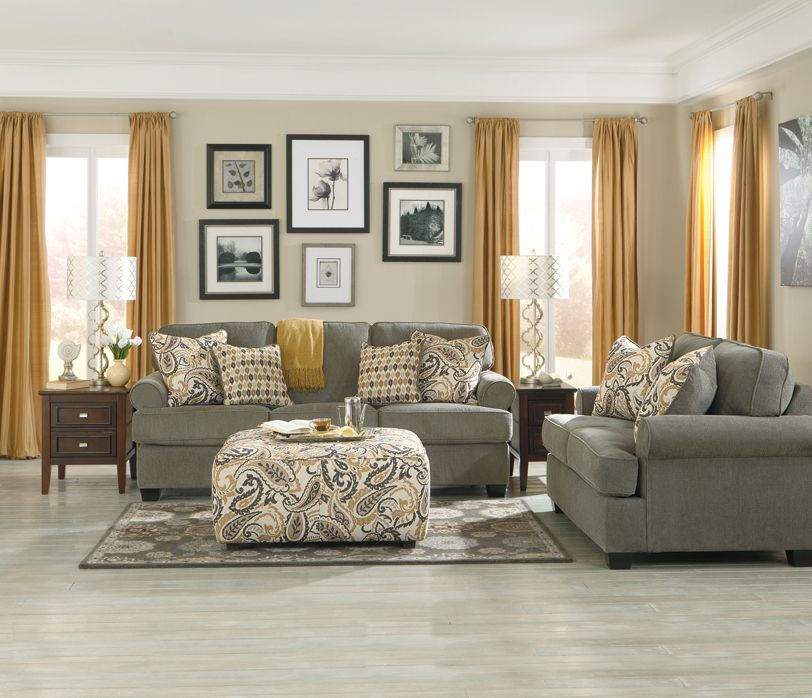 Sofa And Love Seat In Smoke With Paisley Ottoman From
