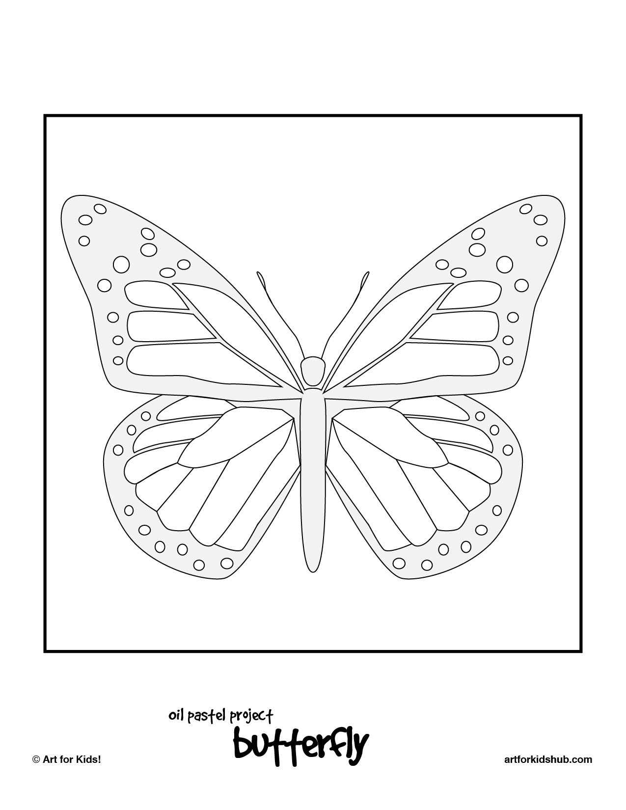 Butterfly coloring page symmetry - Oil Pastel Art Project Monarch Butterfly Art For Kids Hub