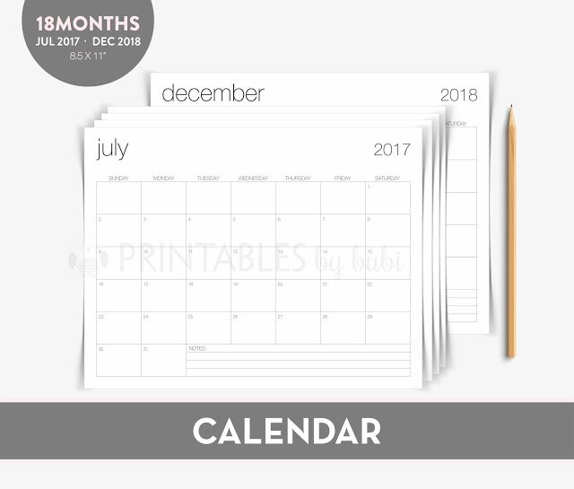 Cards by Bubi Academic Calendar - 18 Months   July 2017 - Dec 2 - academic calendar templates
