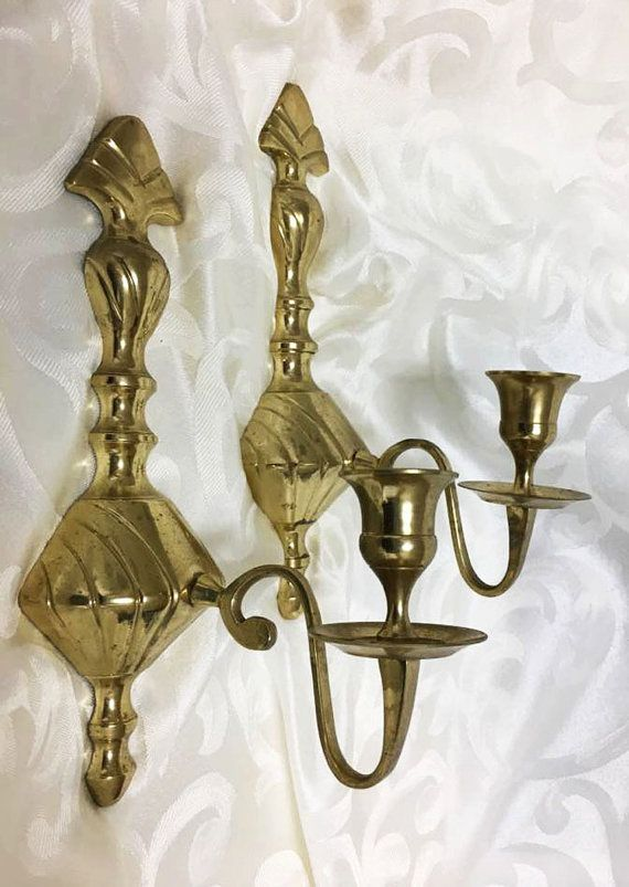 sale retailer 84d10 27a52 Brass Sconce Pair Simple Elegant Candle by ...