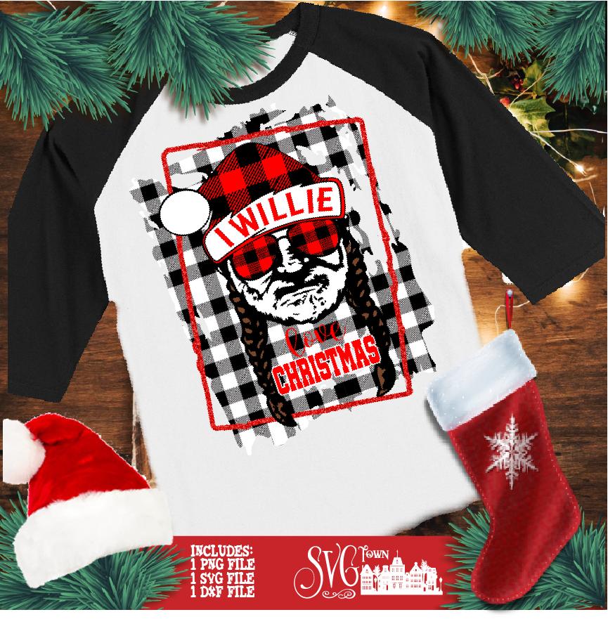Download I Willie Love Christmas Santa Hat - Buffalo Plaid Frame ...
