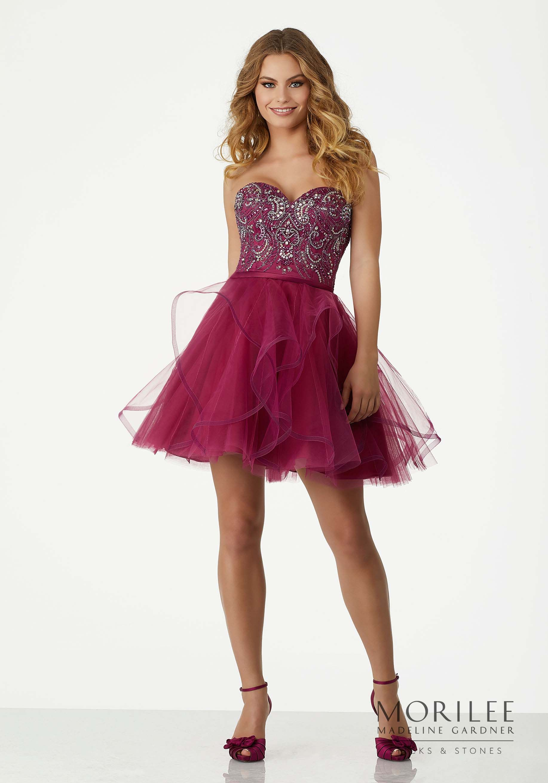 Pink Strapless Cocktail Dress with Sweetheart Beaded Satin Top and ...