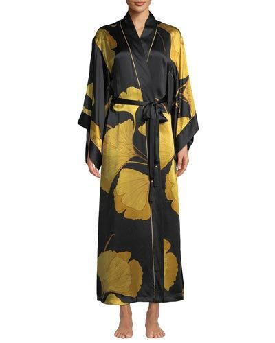 4f67349333 Josie Natori Long Ginkgo Leaf-Print Silk Drop-Sleeve Robe