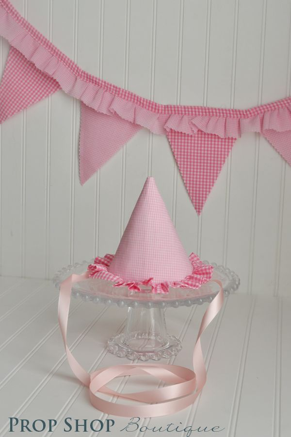 Gingham Birthday Party Hat  www.etsy.com/shop/propshopboutique