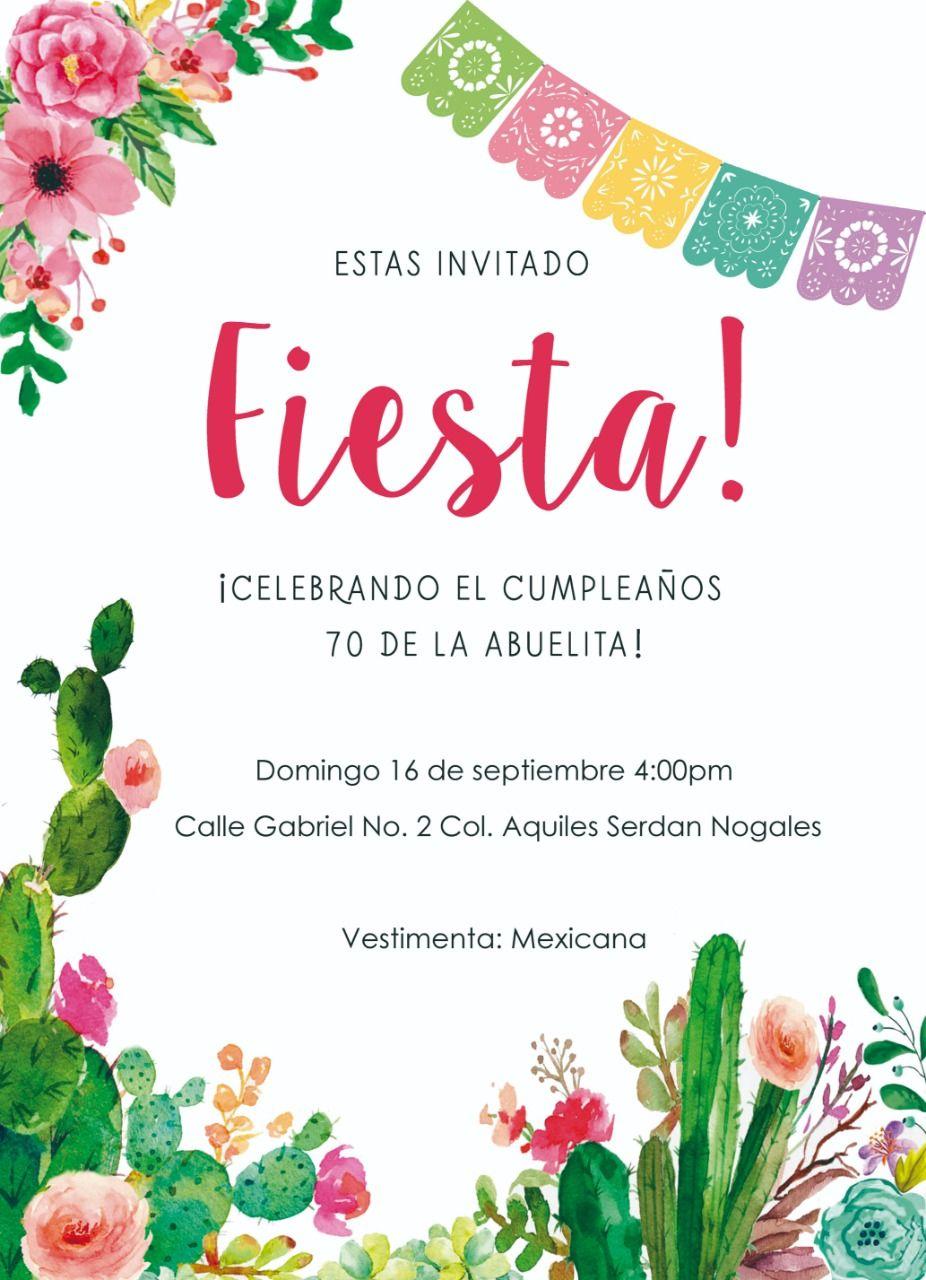 Invitación Con Temática Mexicana Para Cumpleaños Noche