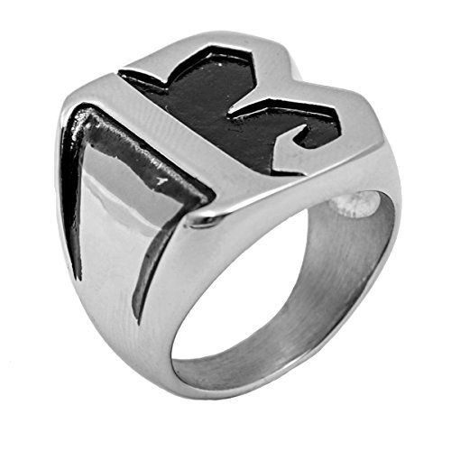 """PAURO Men's Stainless Steel No. 13 Club Motorcycle Biker Ring Silver Black Size 9. Metal: 316l Stainless Steel. Size:US 8-13; Ring Height(Approx): 24mm, Weight: 20g. All of stainless steel ring are hypoallergenic, scratch resistant and comfort fit design. One of the ways to show off your love for your style is with a ring. Wear it at work or some special occasion, like halloween, party, ceremony. Each item will come with a FREE black velvet bag printed brand name """"PAURO"""" on it."""