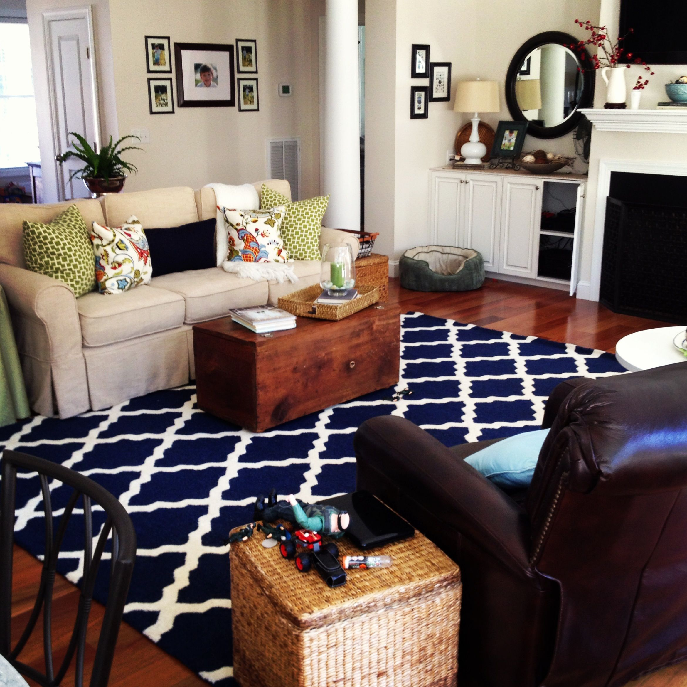 Navy blue rug living room the image kid for Living room rug ideas