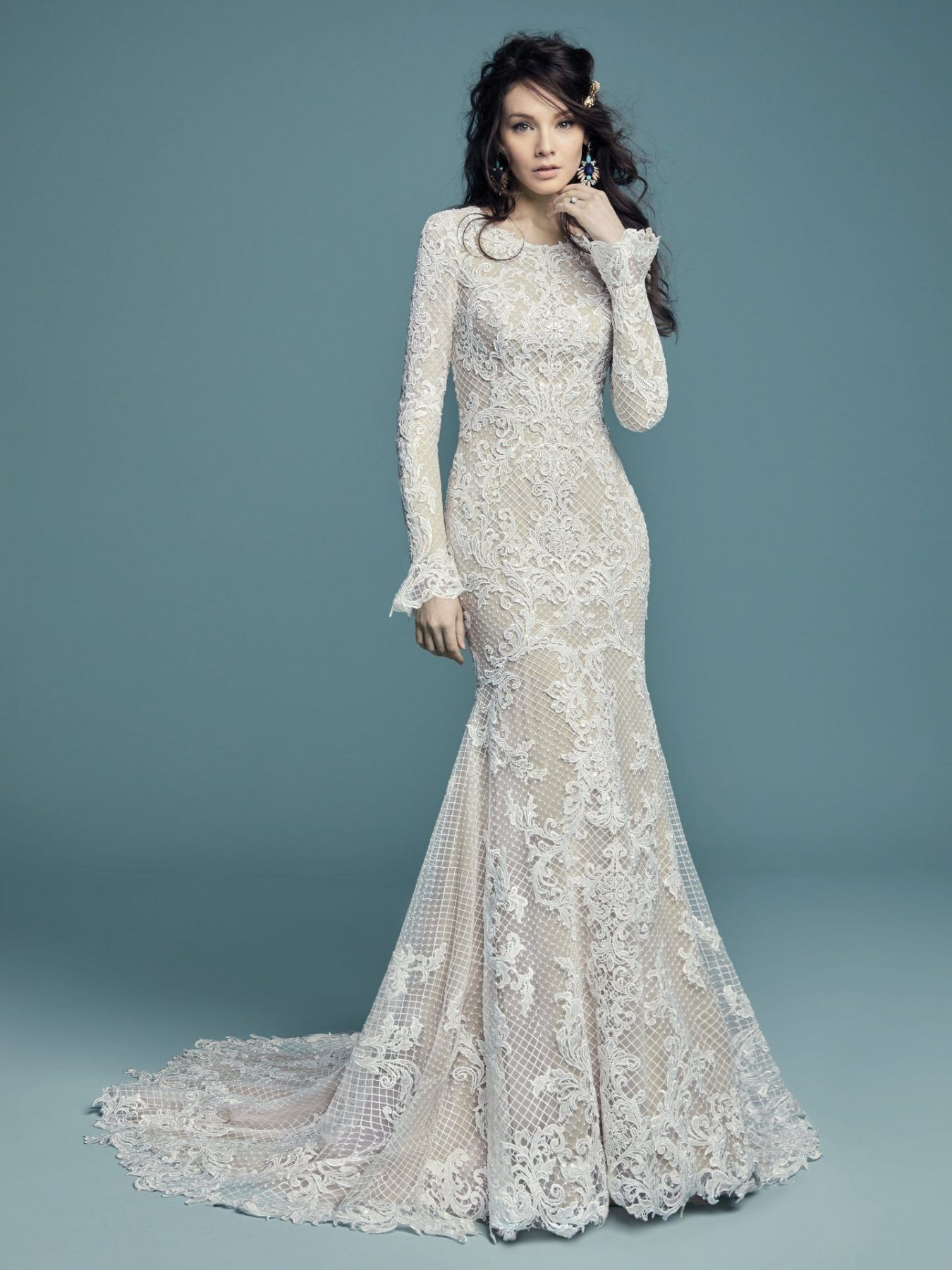 Long Sleeve Netted Lace Fit And Flare Wedding Dress Maggie