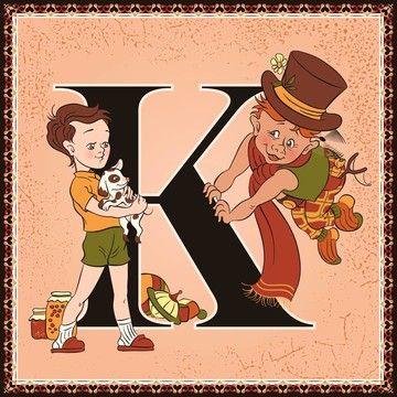 Fine Art Print Of Children Book Cartoon Fairytale Alphabet Letter K Karlsson On The Roof By Astrid Lindgren K523 Poster Artwork Canvas Prints Fine Art Prints
