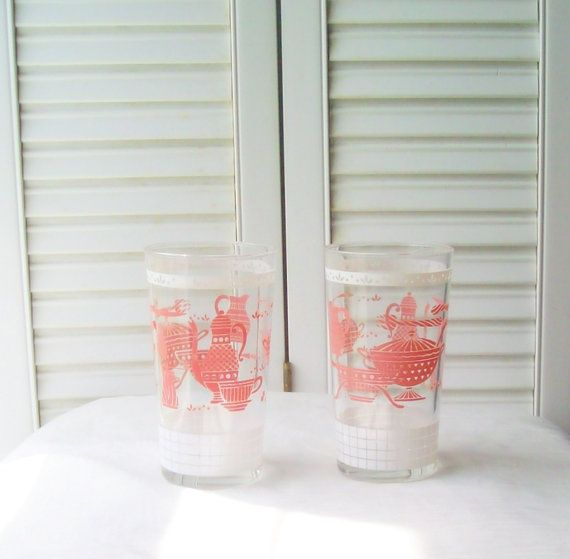 Pink Juice Glasses Shabby Chic Vintage by SeasideRoseCreations, $24.00