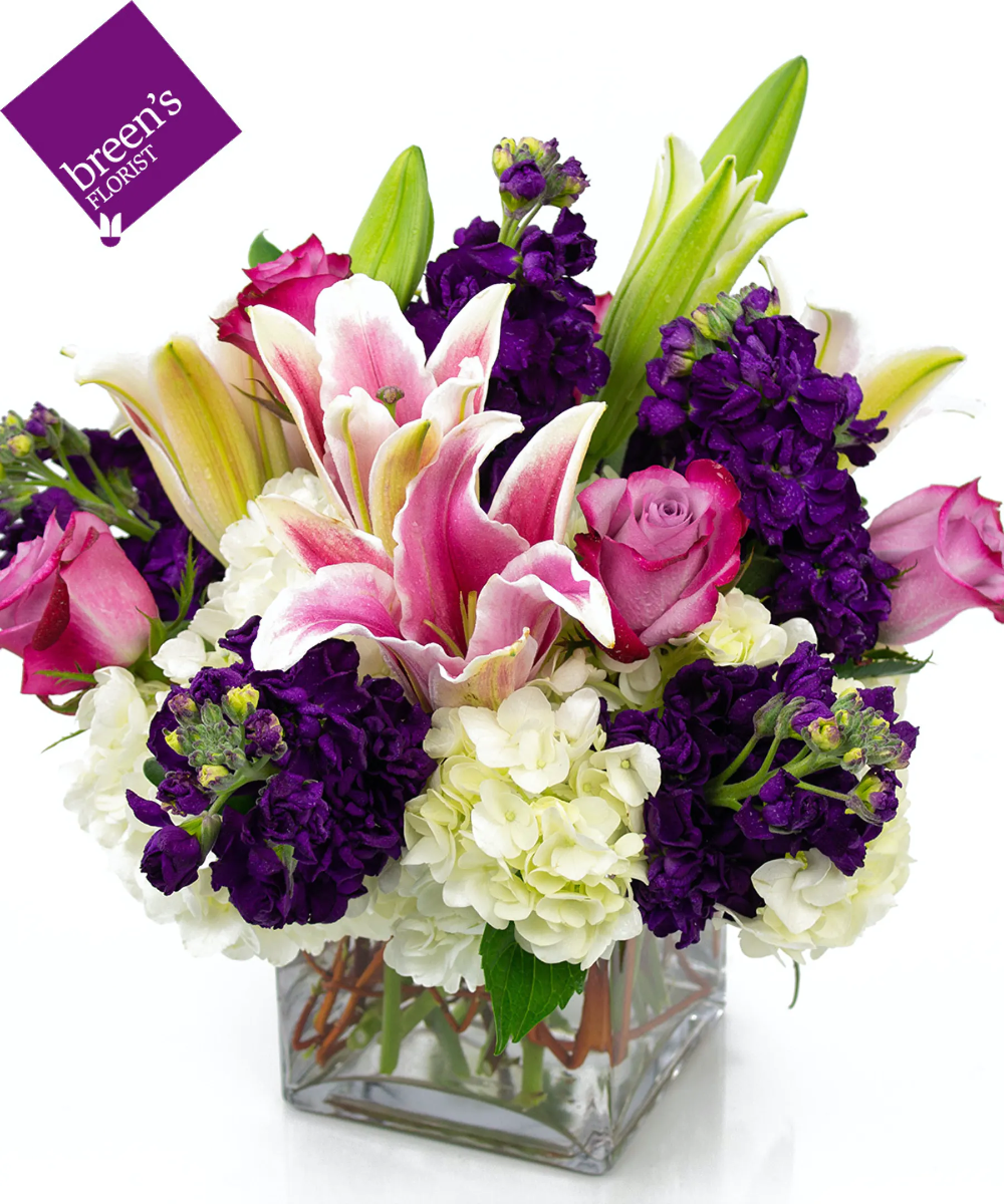 Start The Weekend Off Right With Our Last Dance Bouquet A Cube Vase With Whites Pinks And Lavenders A Winning Combination Color C