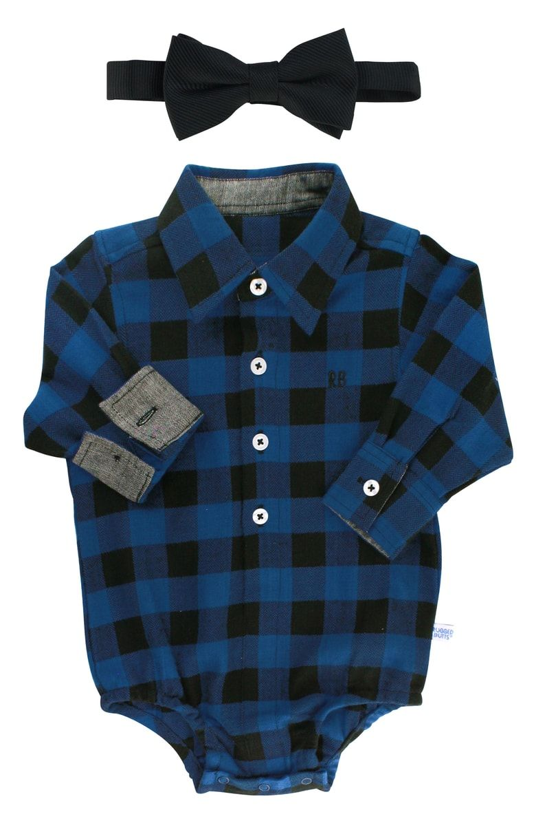 Flannel shirt for baby boy  Free shipping and returns on RuggedButts Plaid Bodysuit u Bow Tie