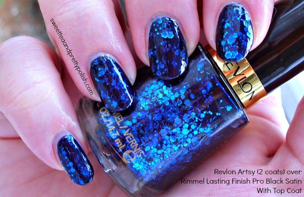 Nails of the Day: Revlon Artsy over black #notd   My Nails   Pinterest
