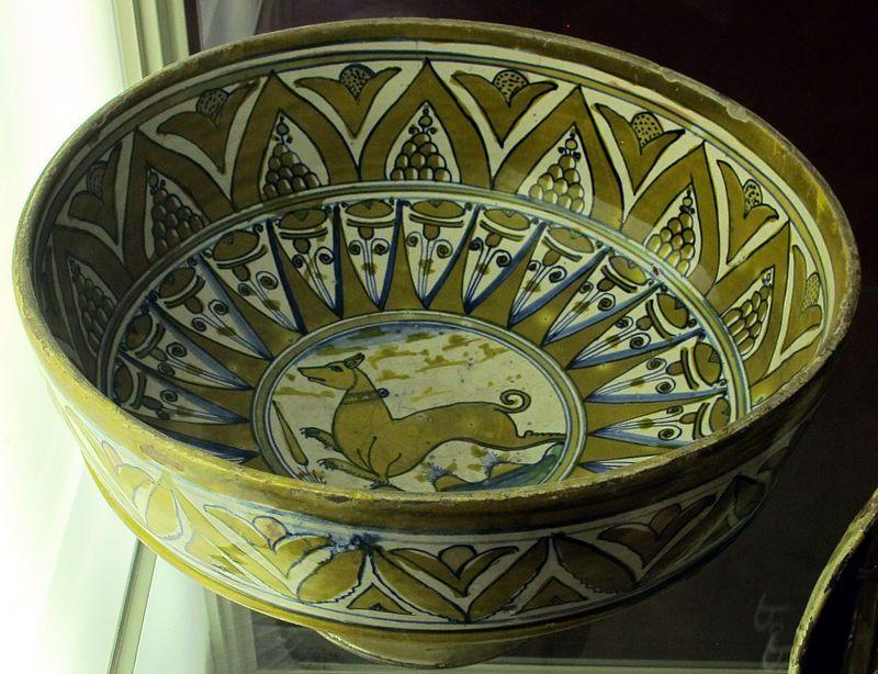 Deruta, with dog bowl, xvi sec.JPG Ceramica, Ciotole