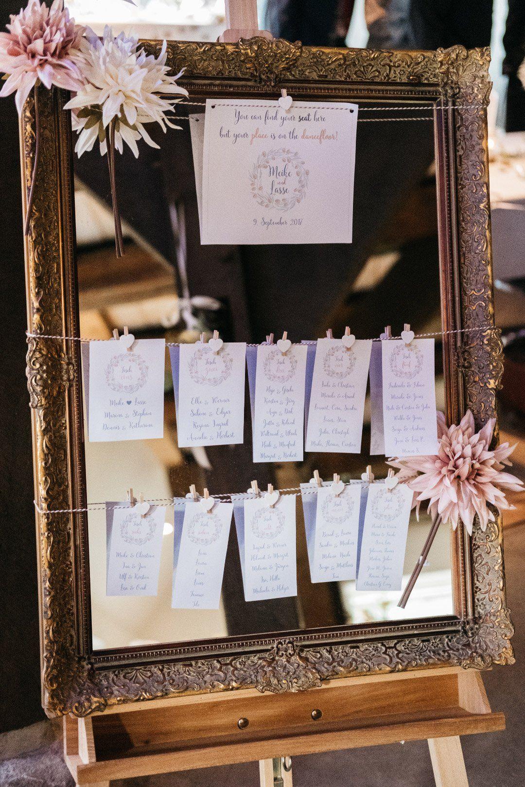 Hochzeit: Ein Sitzplan / Tischplan mit einem alten Bilderrahmen. Die ...