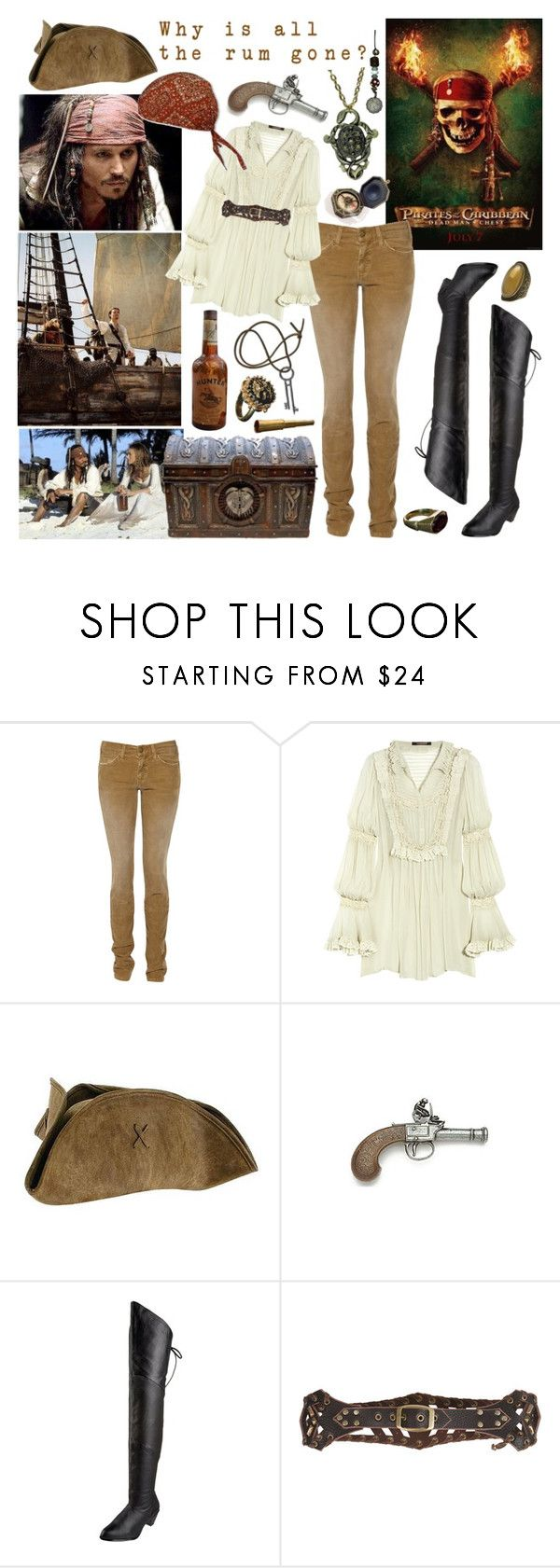 """""""Pirates of the Caribbean"""" by aquabatgirl ❤ liked on Polyvore featuring Current/Elliott, Roberto Cavalli, Paille, Elope, Pleaser, Hunter, Kettle Black and Free Press"""