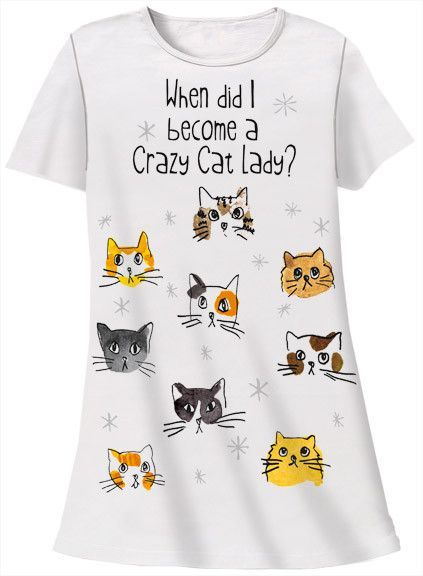 Relevant Products I Was Normal 3 Cats Ago Nightshirt Cat Lover White One  Size 0d66794c2