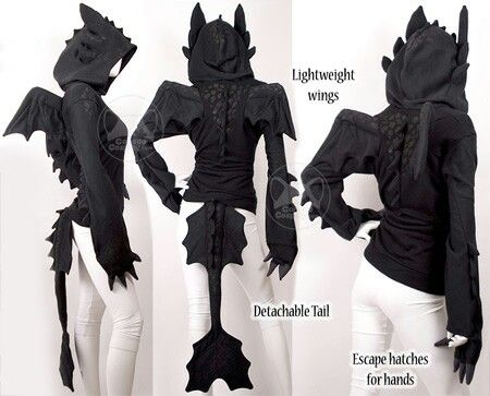 Back of Toothless hoodie & 10 Warm Halloween Costumes For Lazy Geeks | Pinterest | Toothless ...