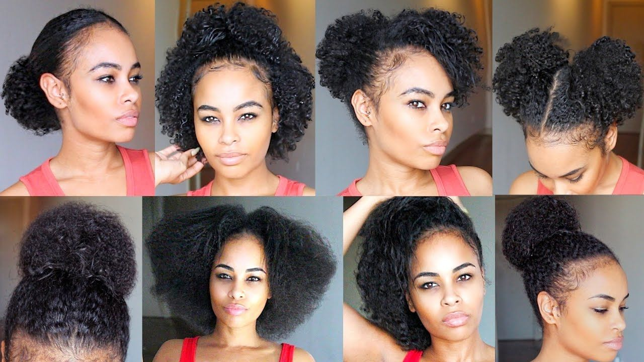 10 Quick Easy Natural Hairstyles Under 60 Seconds For Short Medium Natural Hair Video Natural Hair Styles Easy Medium Hair Styles Medium Natural Hair Styles