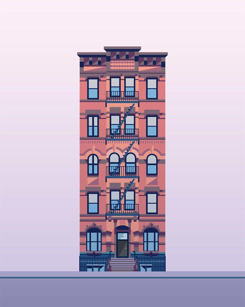 Illustration Prints East Village Buildings Nathan Manire