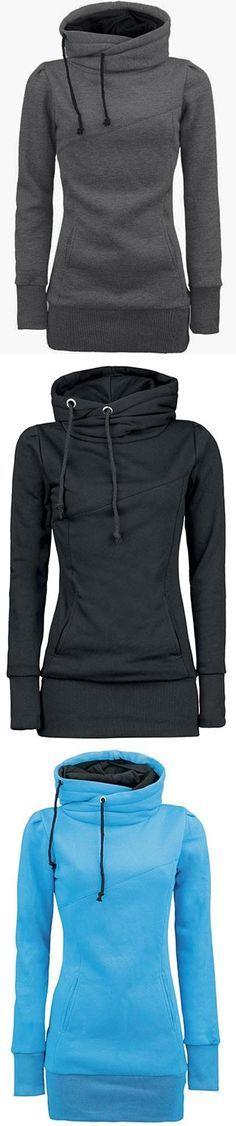 Solid Kangaroo Pocket Hooded Sweatshirt | Deko basteln, Diy ideen ...
