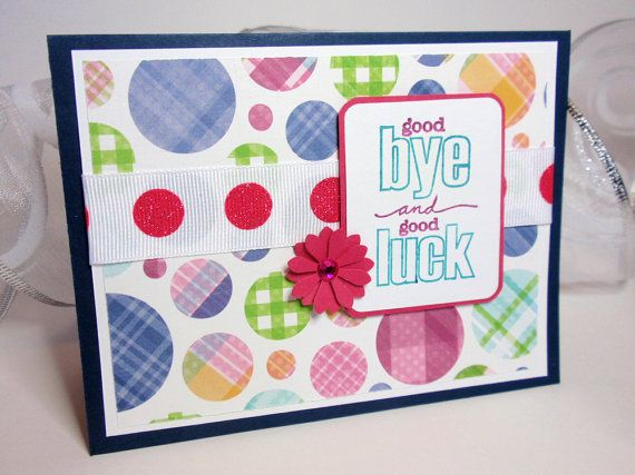 Farewell Card - Good-Bye and Good Luck - Plaid Polka Dots