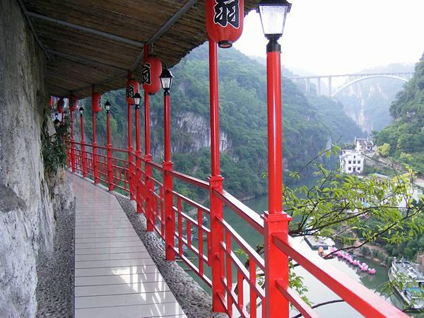 The Hanging Plank Road Along Cliffside Above Yangtze River China