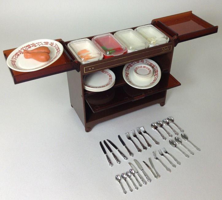 Superb Vintage Pedigree Sindy Dolls House Furniture   Hostess Trolley U0026 Food
