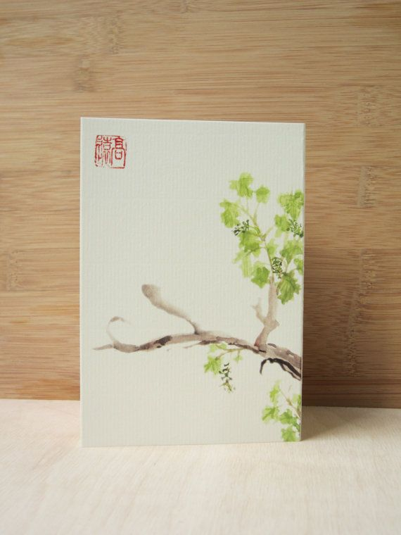 Grapevine watercolor greeting card delicate and by InkFlower, $4.50