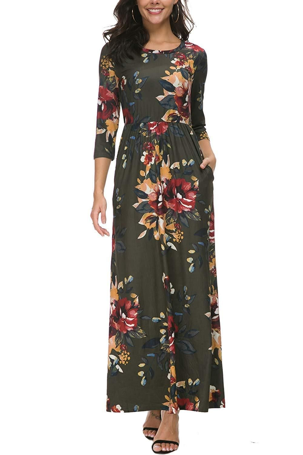 Zattcas Women S Floral Maxi Dress 3 4 Sleeve Casual Long Printed Maxi Dresses With Pockets Womens Floral Maxi Dress Maxi Dress Floral Maxi Dress [ 1500 x 1000 Pixel ]