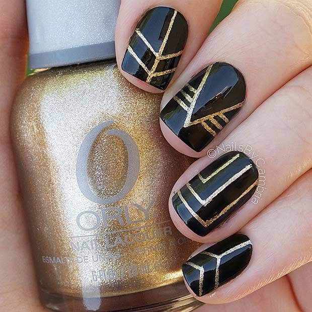 25 Edgy Black Nail Designs - 25 Edgy Black Nail Designs Black Nails, Runes And Gold