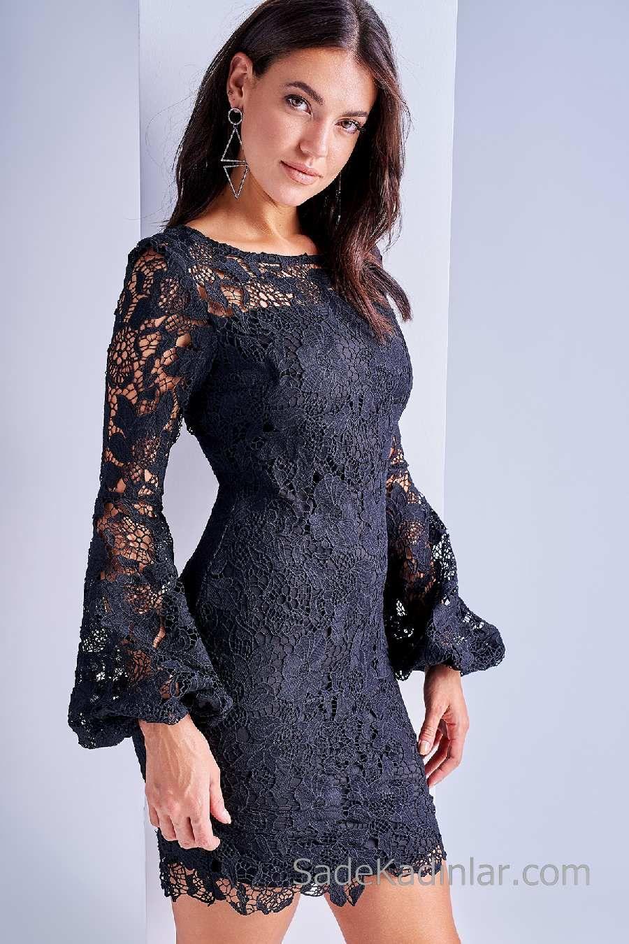 2020 Gece Elbise Modelleri Siyah Kisa Uzun Kollu Gupur Dantel Elbise Modelleri Elbise Elbiseler