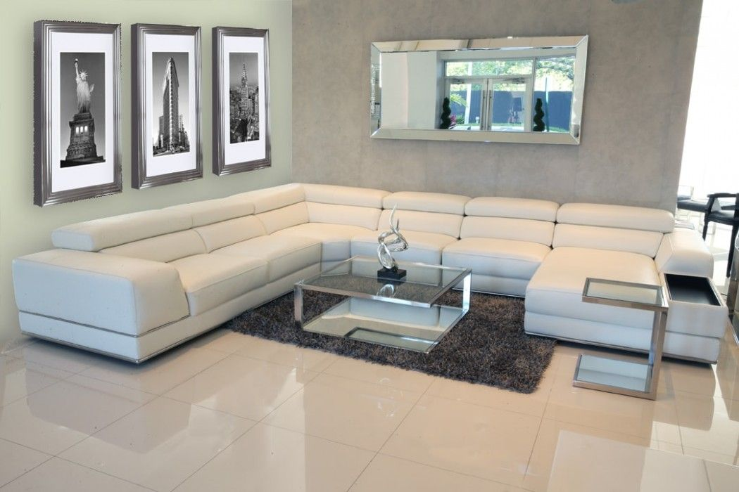 Fabulous Bergamo Extended Sectional Leather Modern Sofa White Pabps2019 Chair Design Images Pabps2019Com