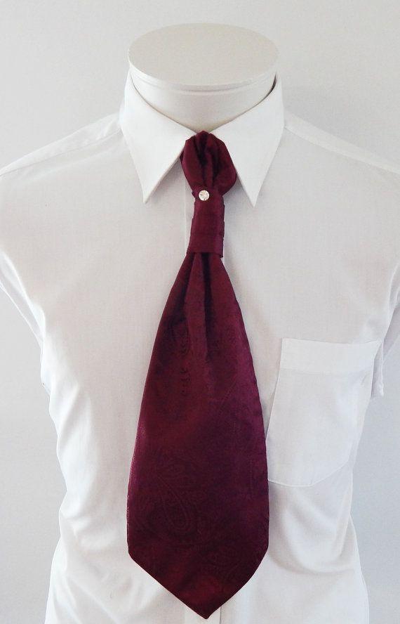 a005227e4dfb Mens Ascot Tie Burgundy Satin Paisley Adjustable Neck Mens Formal Ascot  cravat