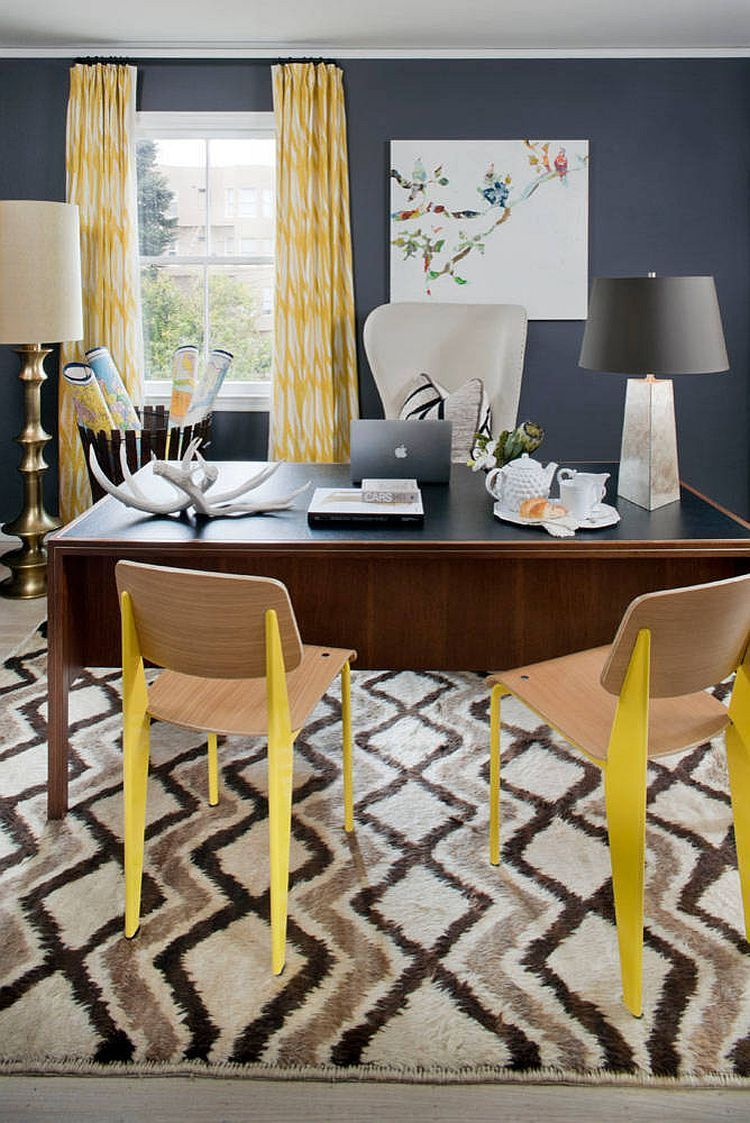 Blue Home Office Ideas  Yellow home offices, Blue home offices