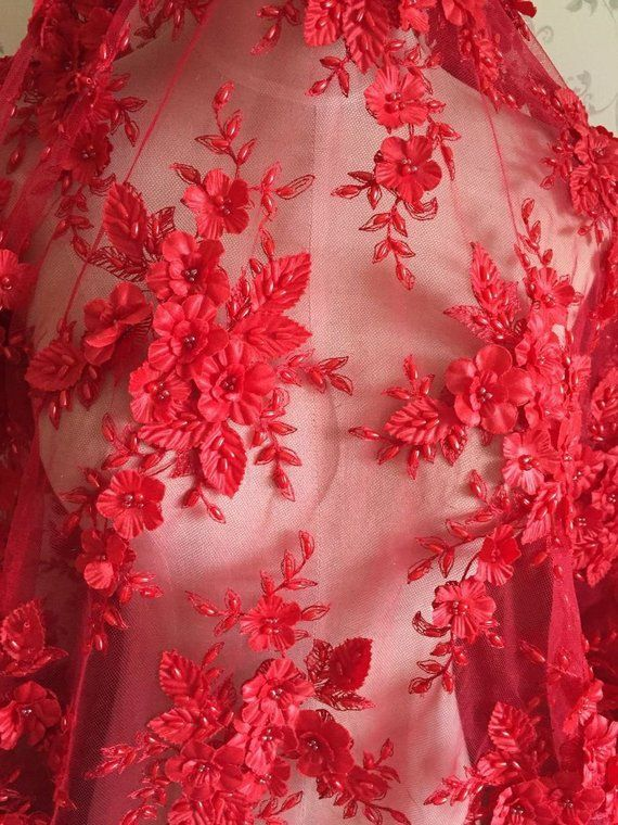 """1 X Meter Pink//black Lucra strech Floral lace dress fabric Bridal  58/"""" inch wide"""