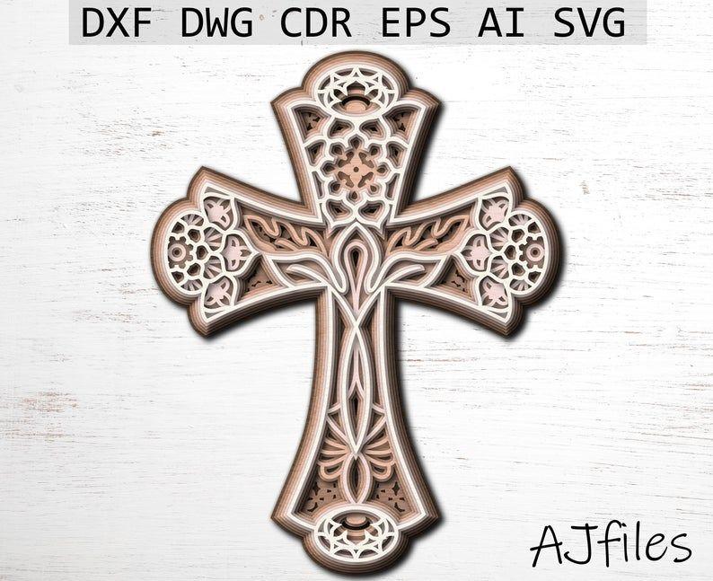Download Cross Svg Layered cross Mandala File Mandala svg DXF ...