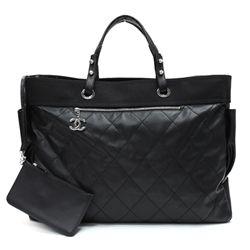 e5a252cf627b Chanel Black Coated Canvas Paris Biarritz XL Travel Size Tote Handbag -   1999.99
