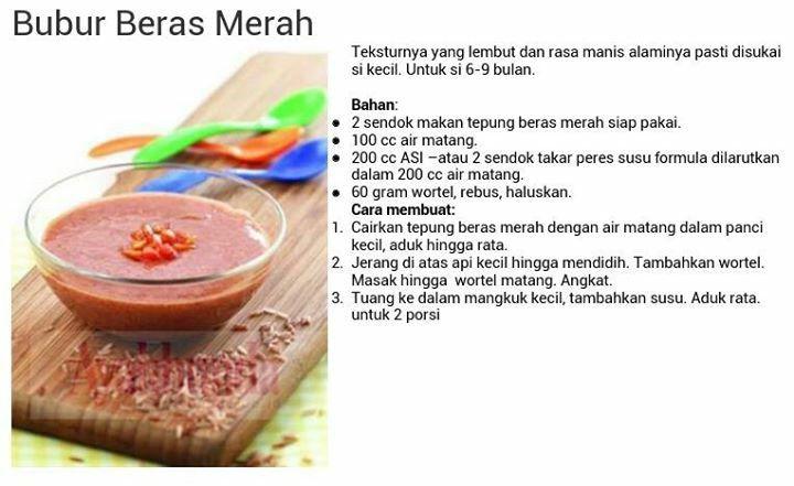 Bubur Beras Merah Resep Makanan Bayi Makanan Bayi Makanan