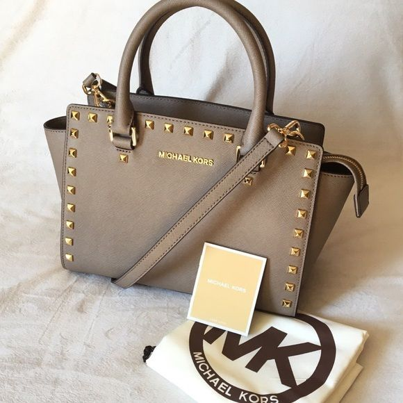 NWT Michael Kors Selma Stud Dark Dune Satchel New With Tags ...
