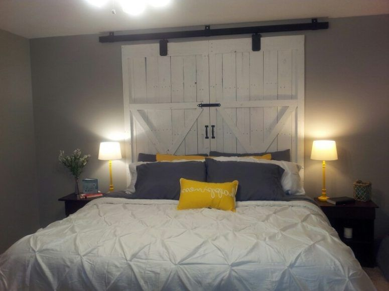 Barn Door Headboard For Sale Brown Stained Log Wood Bed Combined Barndoor Headboard Small Bedroom Remodel Remodel Bedroom